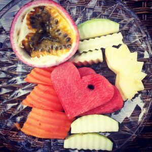 Picture with Mixed Fruit Pineapple, Papaya, Water Melon, Granadilla, and Apple