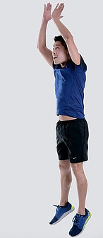 Picture 5 same Man from squatting position Jumps up into the Air and repeats process.  This is called a Burfee