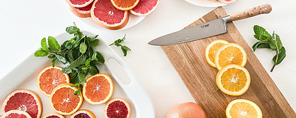 Fruits slices on Platters