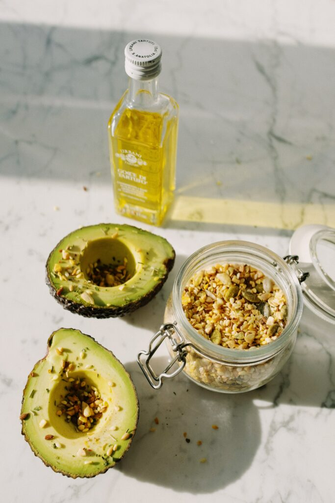 Bottle Olive Oil Avos and Nuts