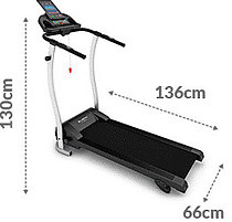 Picture with Dimensions of Kick 2.0 Treadmill