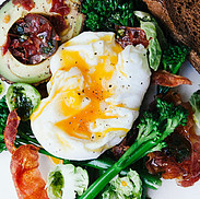 Plate with High Protein Breakfast EGGS SPINACH