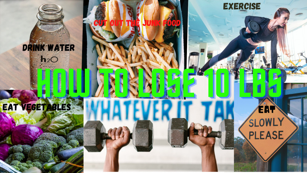 ACollage of Pictures showing various things you can to lose weight, Exercise, eat vegetables ,drink water, eat slowly, Dumo Junk food. Super imposed on it states How to Lose 10 lbs,