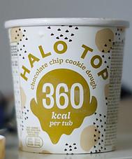 Paper Tub stating 360 Calories per Tub.