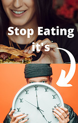 Picture of a person eating and being told to stop at 17.00 hrs with an arrow pointing to a big clock.